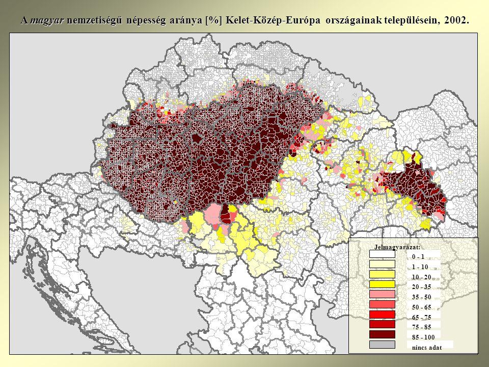 A magyar nemzetiségű népesség aránya [%] Kelet-Közép-Európa országainak településein, 2002.